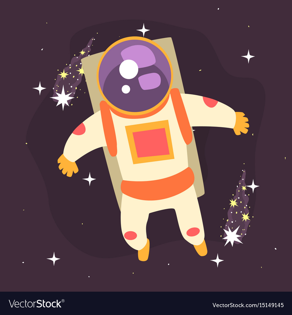 Astronaut Floating Through Space Royalty Free Vector Image