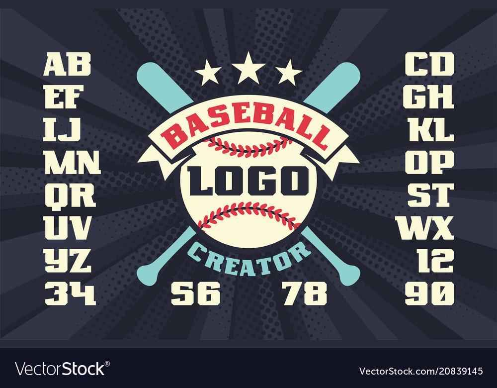 Baseball logo creator with stars crossed bats