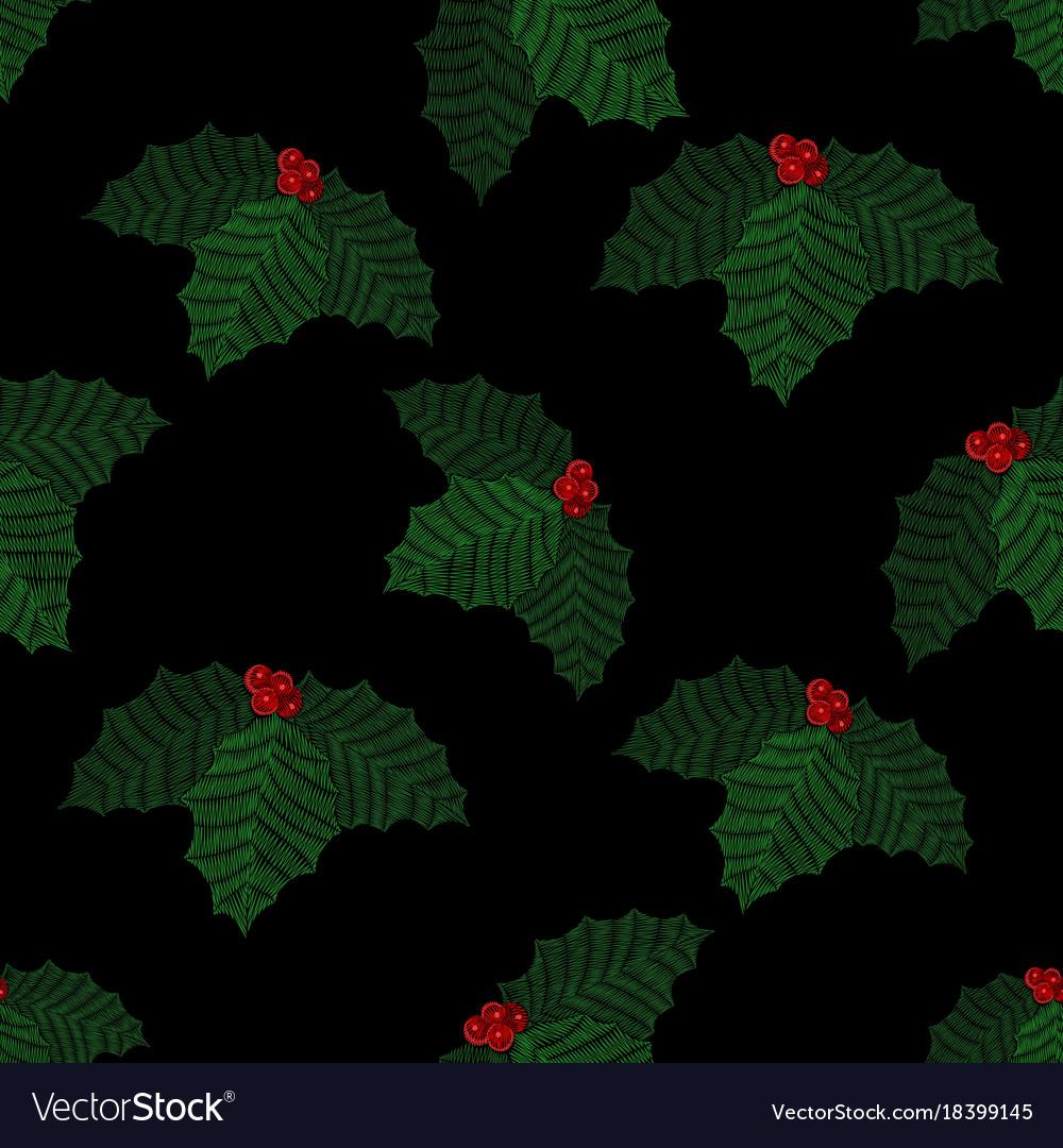 Embroidered mistletoe seamless pattern