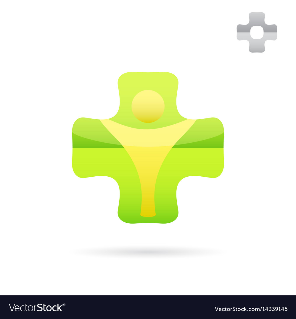 Green medical cross logo with human body shape
