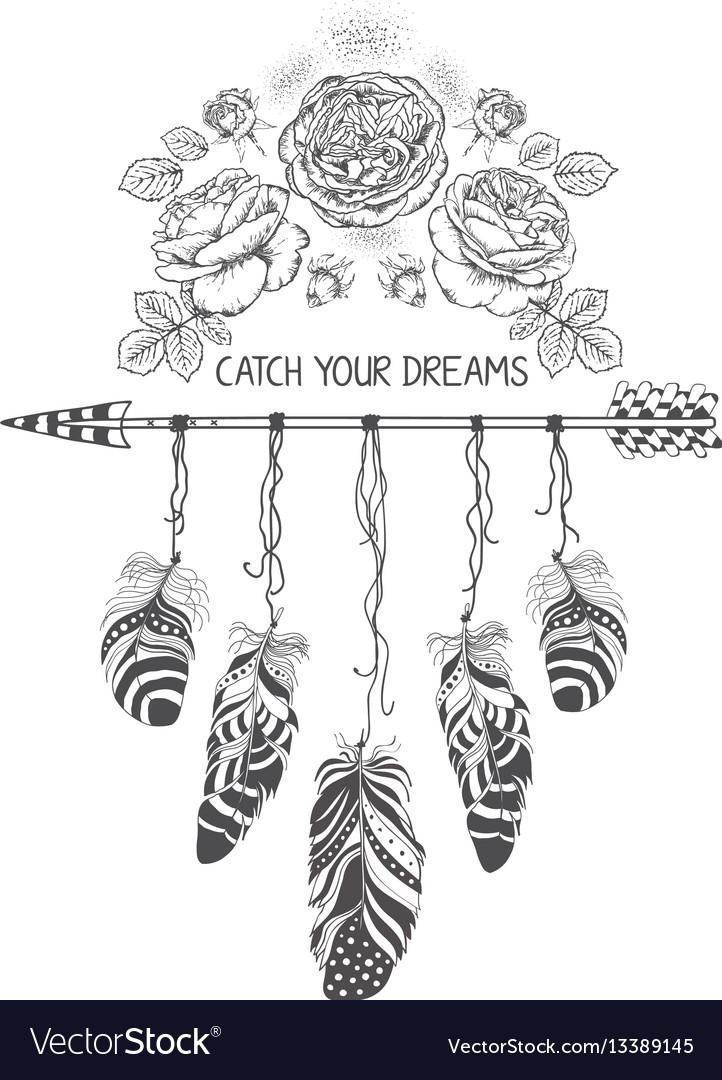 Hand drawn boho style design with rose flower