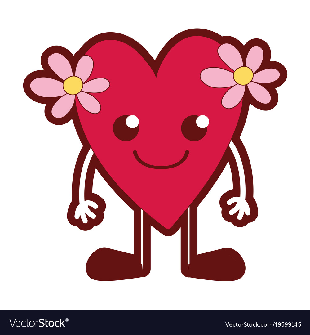 Line color smile heart with flowers kawaii with Vector Image