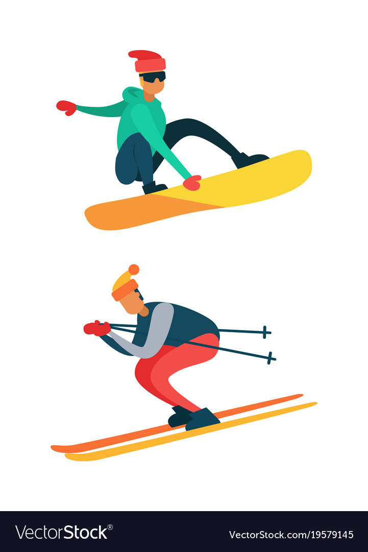 Man Snowboarding Riding Down On Skis Winter Sport