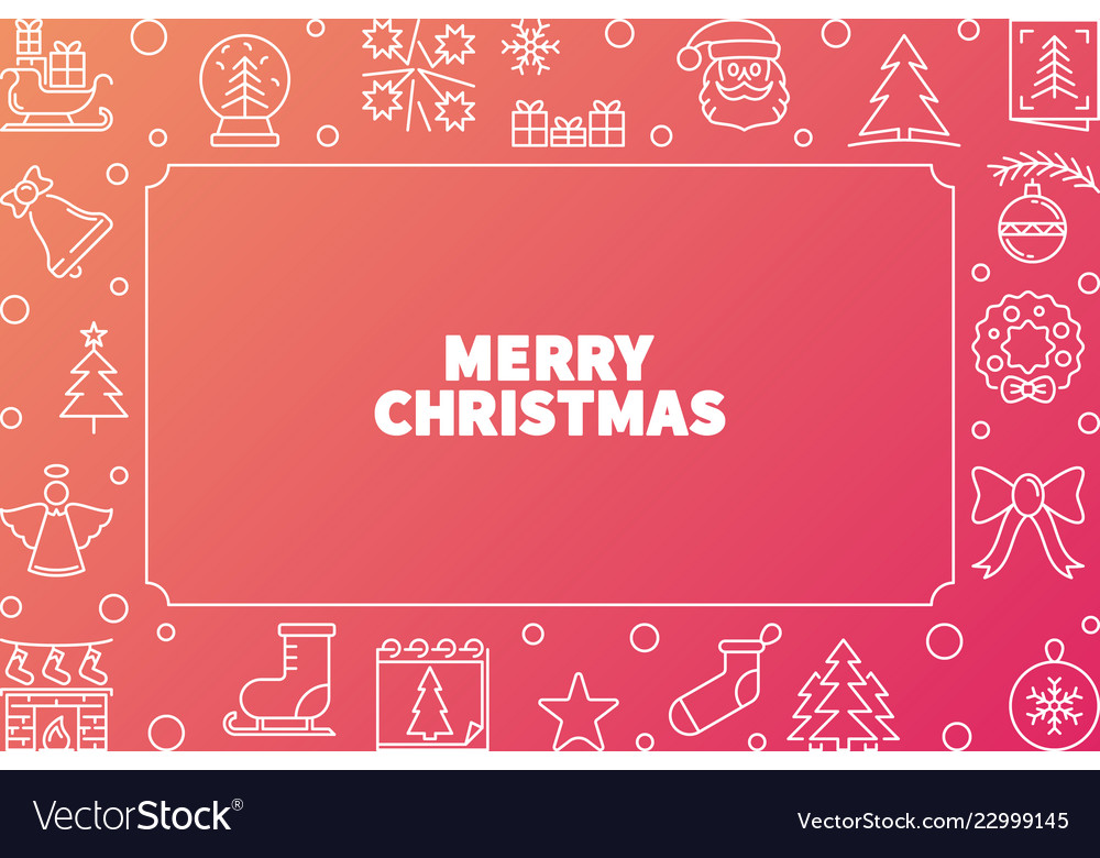 Merry christmas cute outline horizontal