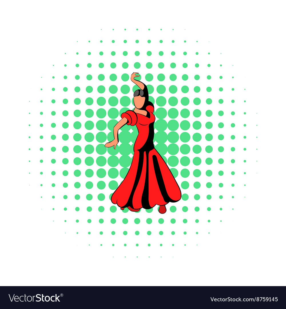 9b9261b68 Red dress icon comics style Royalty Free Vector Image