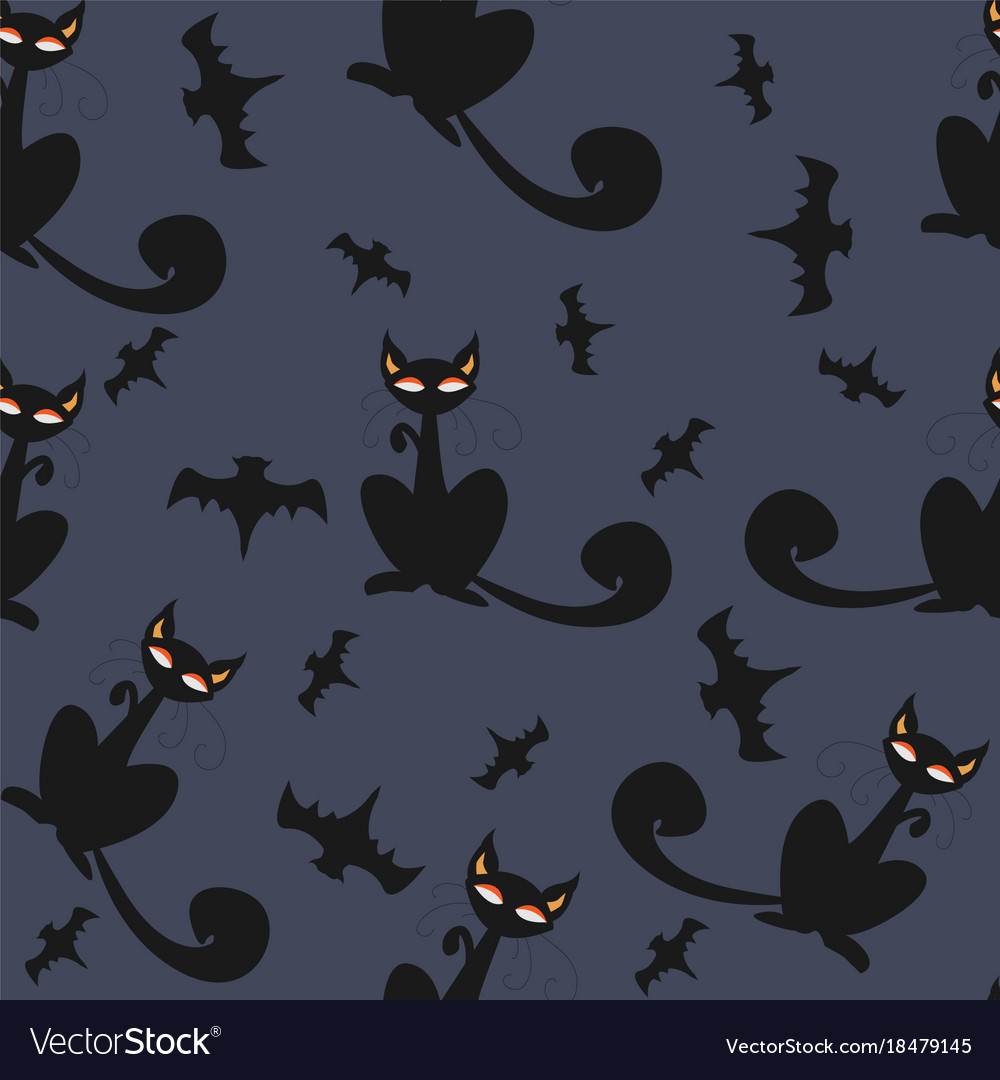 Seamless pattern of halloween cats and bats in