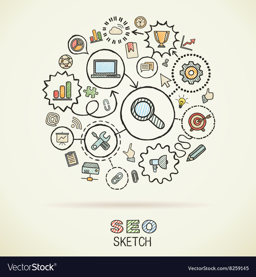 SEO hand drawing integrated sketch icons