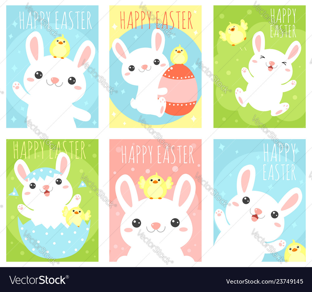 Set of easter banner with cute rabbits and chicken