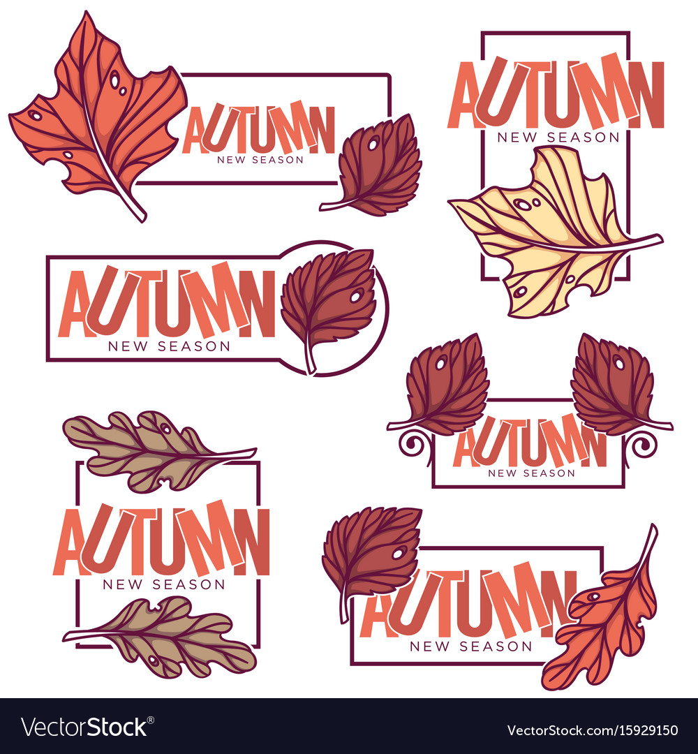 Autumn frames stickers emblems fall leaves