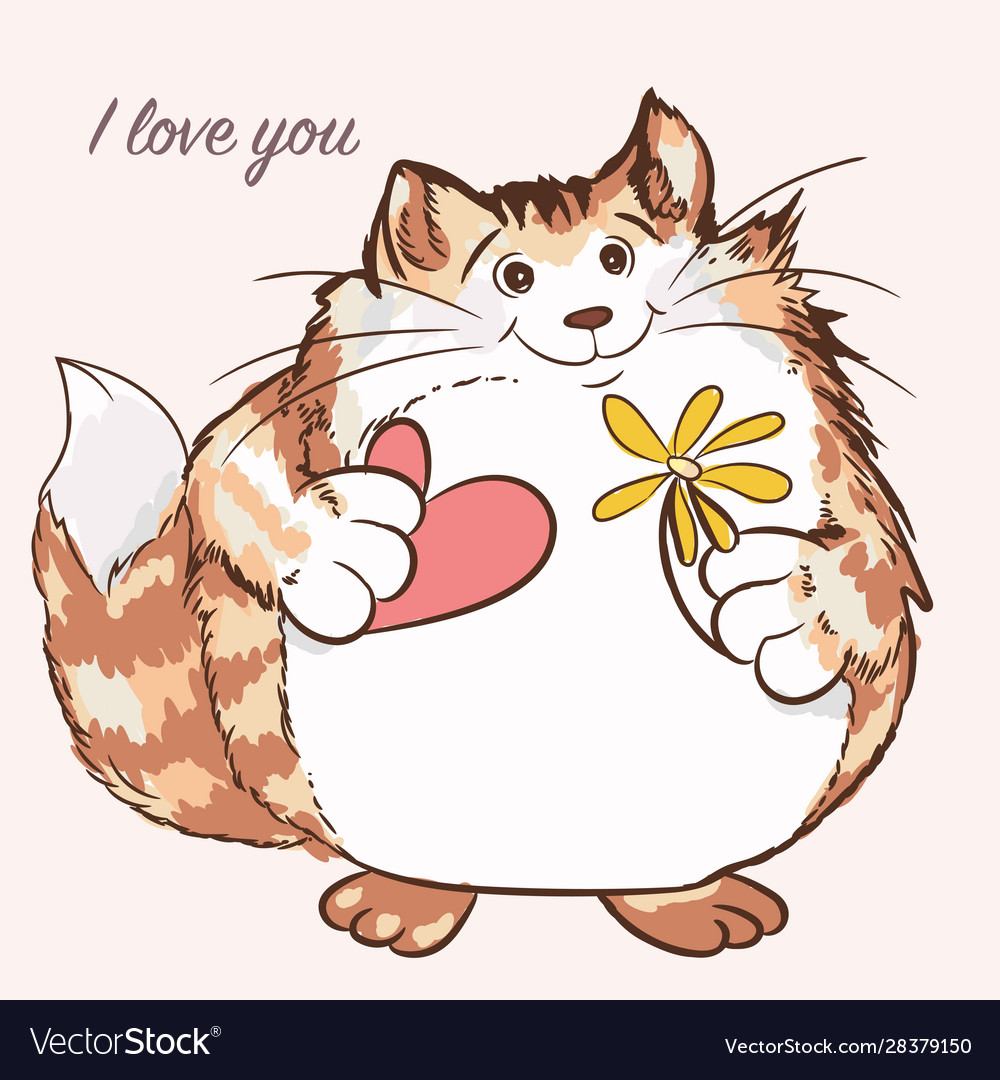 Cute cat holding heart and flower valentines day