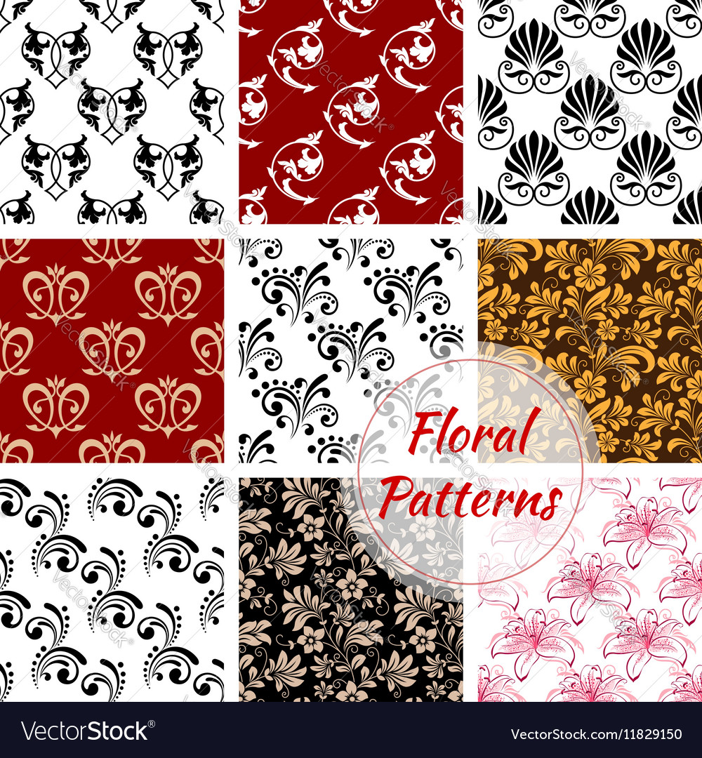 Floral seamless pattern with flower and leaf