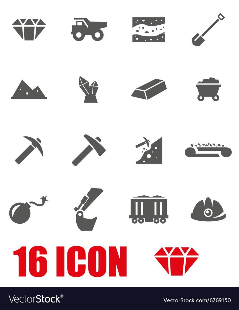 Grey mining icon set