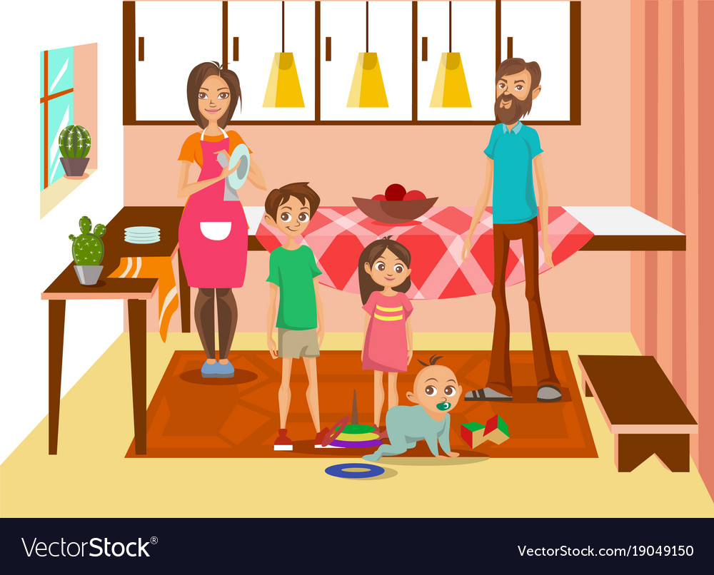 Happy family at home mother father and their