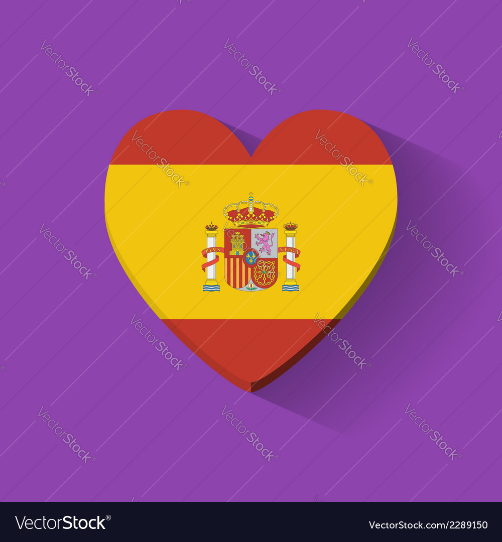 Heart-shaped icon with flag of Spain