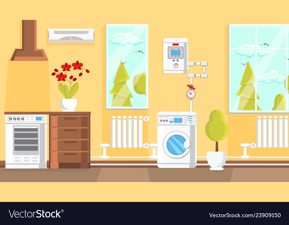 Kitchen Interior Design Flat Royalty Free Vector Image