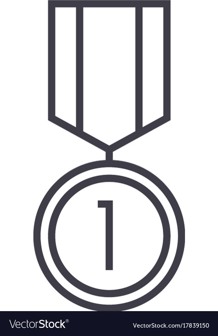 Medal line icon sign on