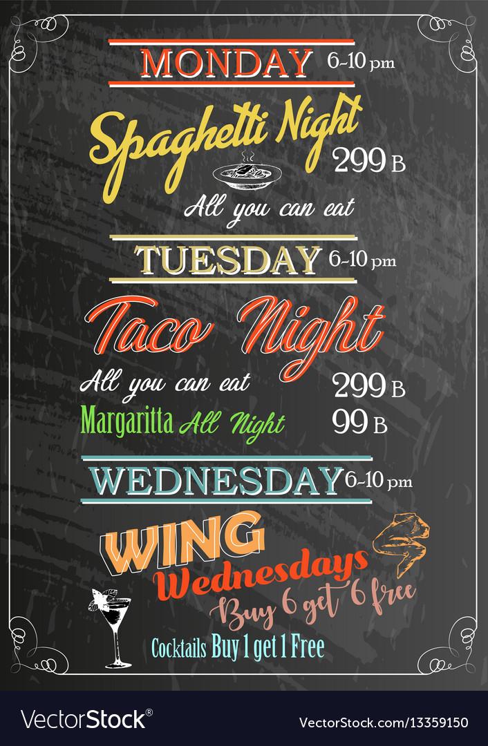 Restaurant food menu design with chalk board