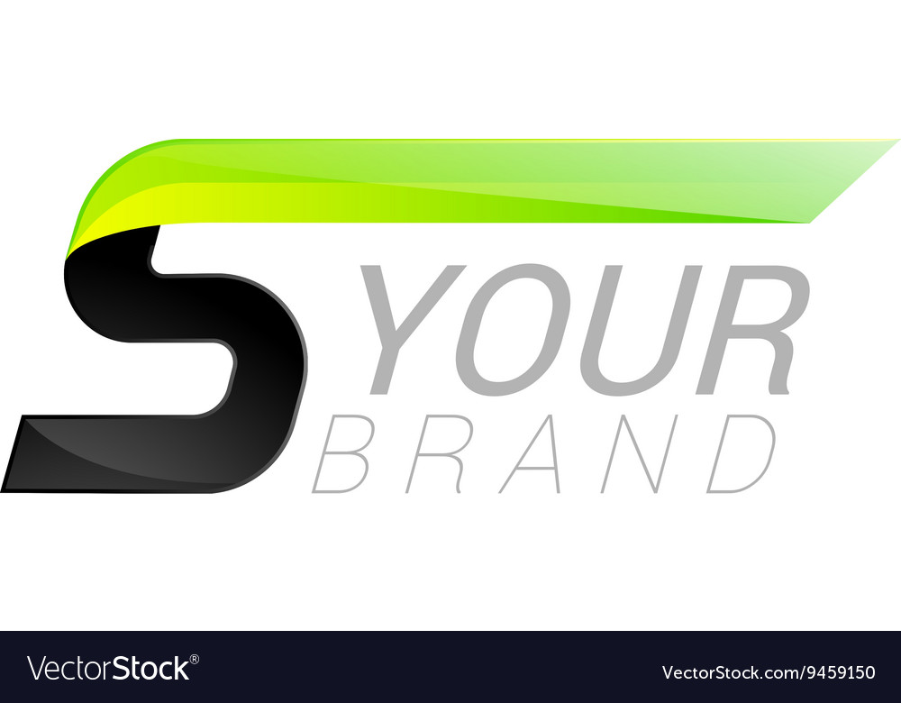 S letter black and green logo design Fast speed