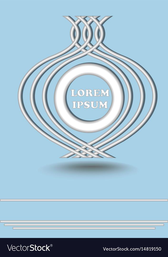 Silver metallic round logotype on light blue vector image