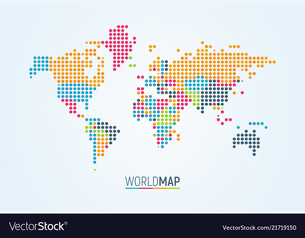 Simple colorful world map on white background