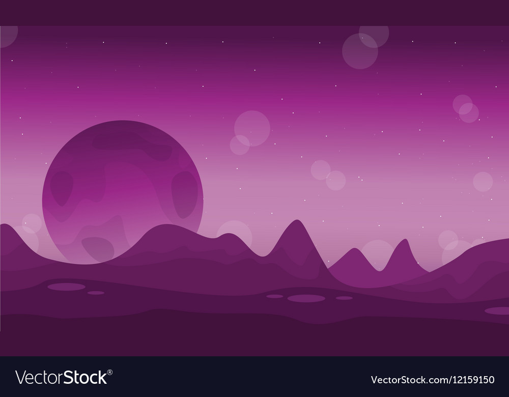 Space desert with planet landscape