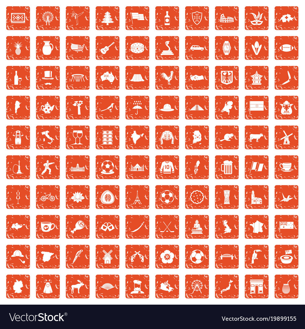 100 map icons set grunge orange