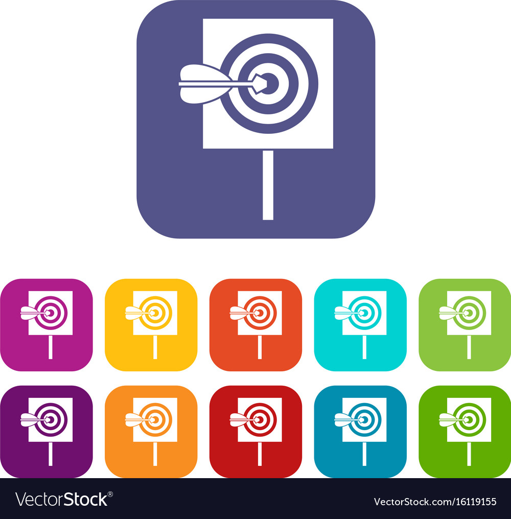 Arrow in the center of target icons set vector image
