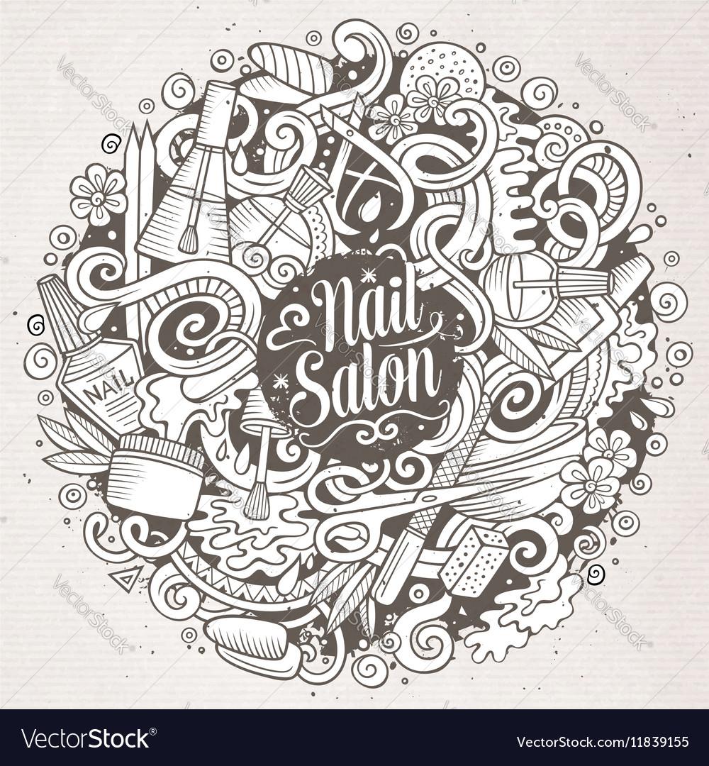 Cartoon doodles Nail salon Royalty Free Vector Image