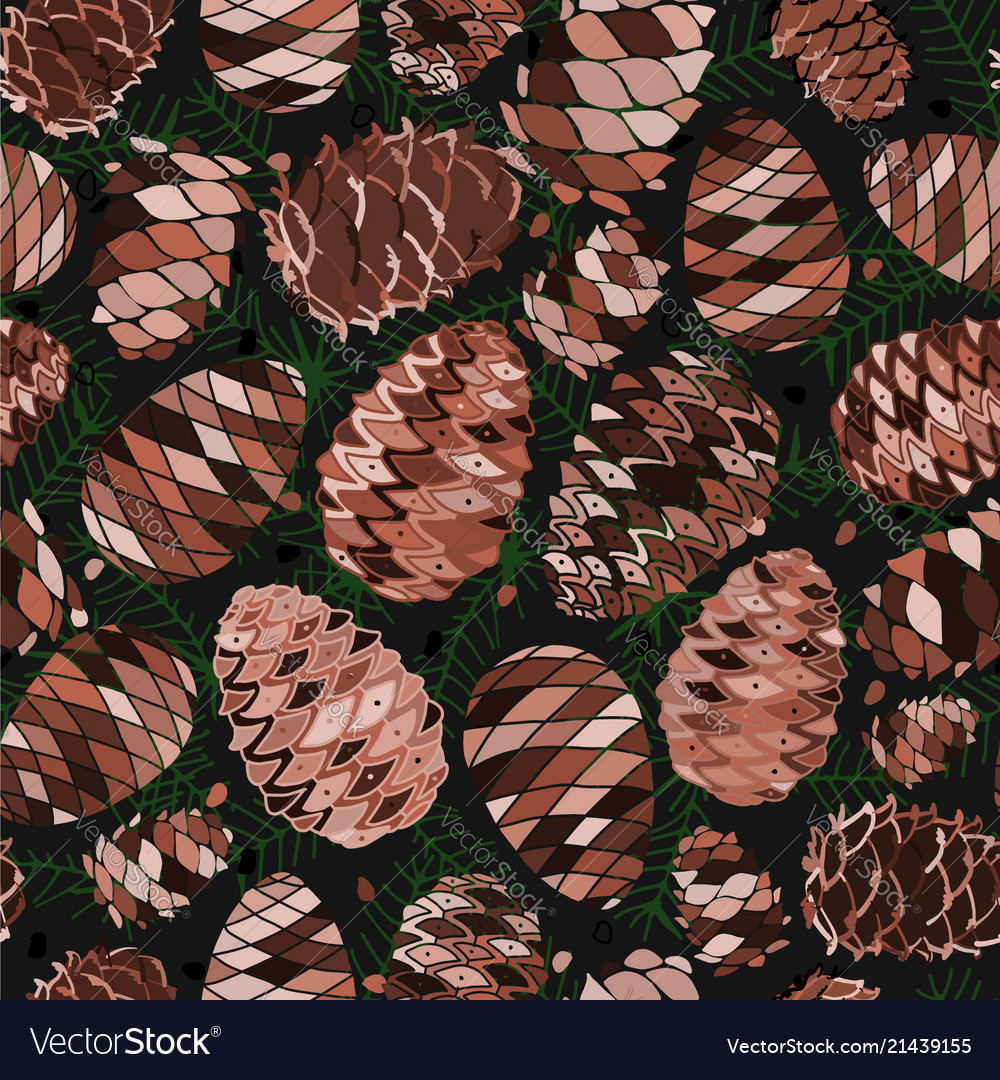 Cedar cones seamless pattern for your design