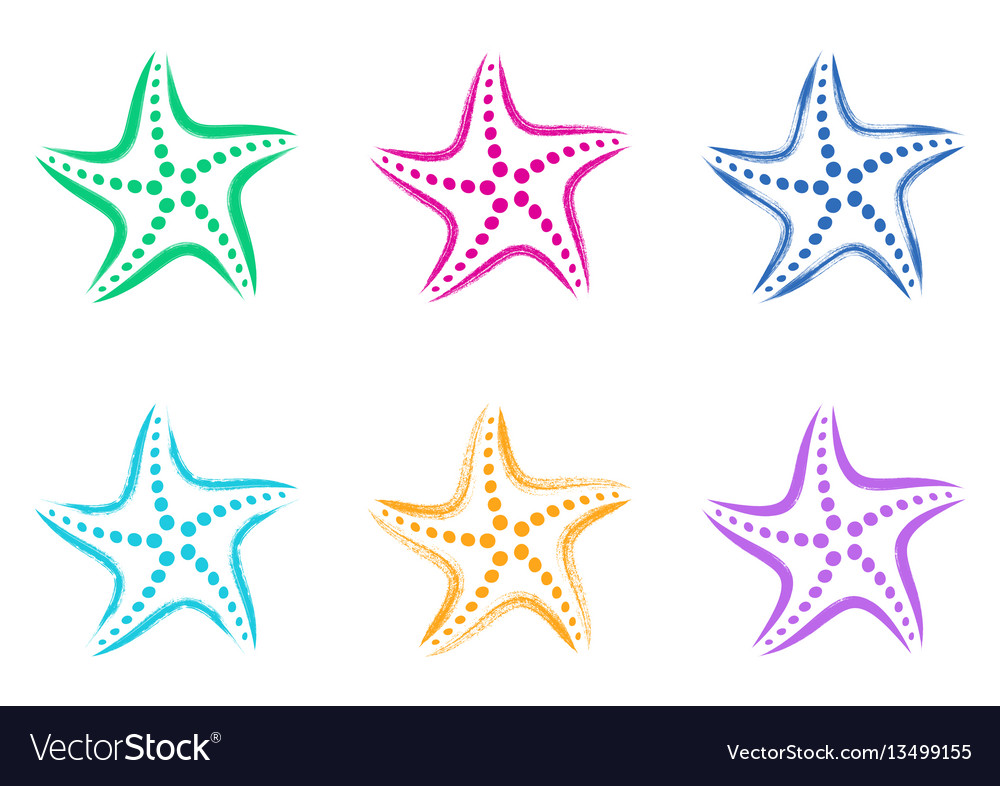 Colorful stylized starfish icons