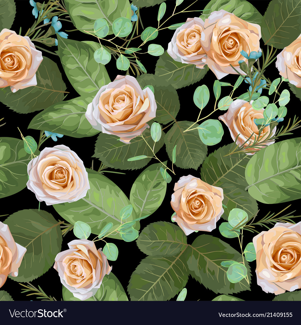 Dark navy floral pattern roses and leaves with