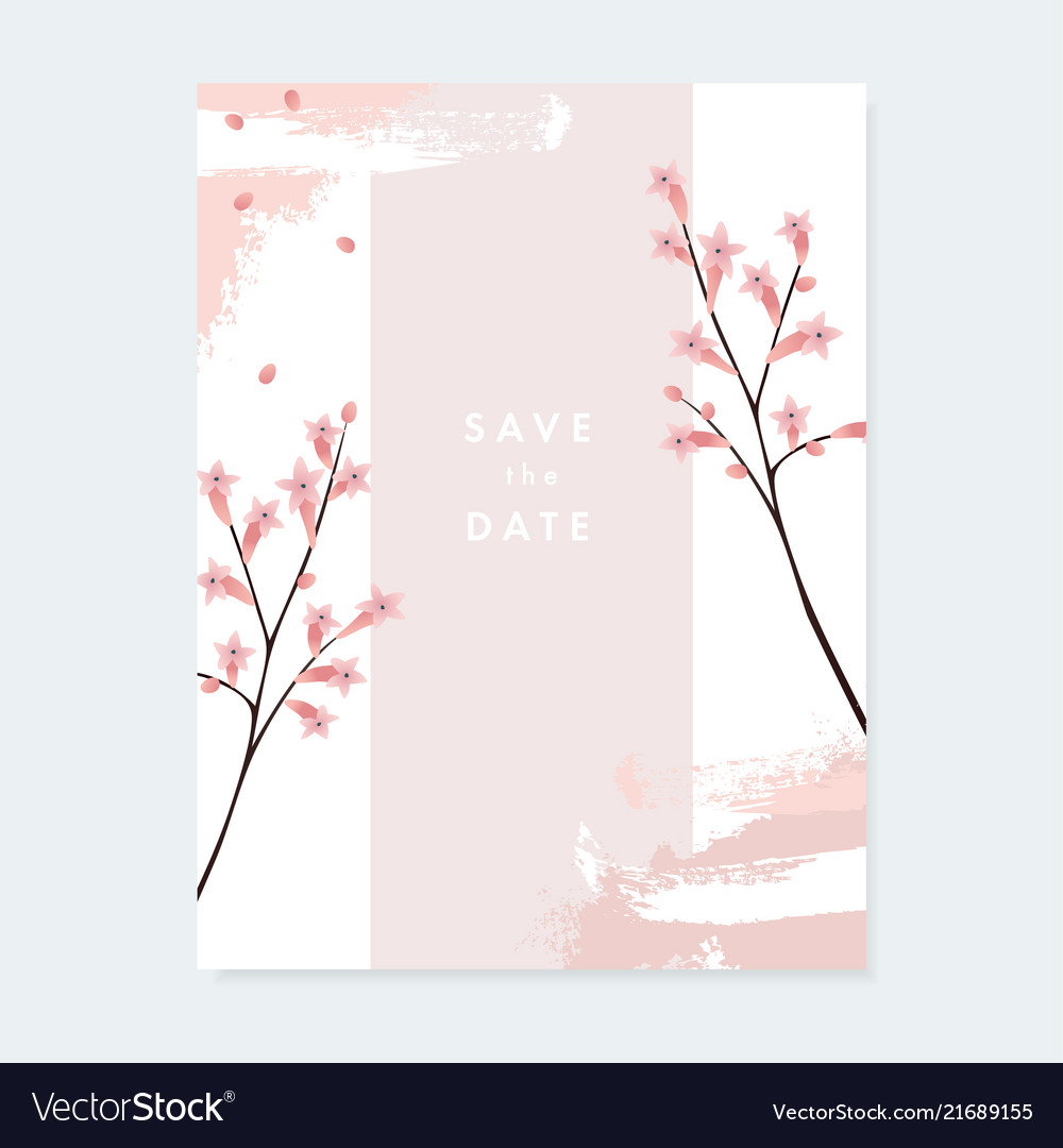 Floral wedding invitation greeting card with pale