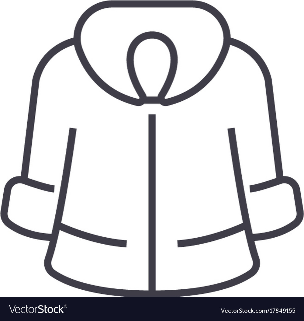 Fur coat line icon sign on