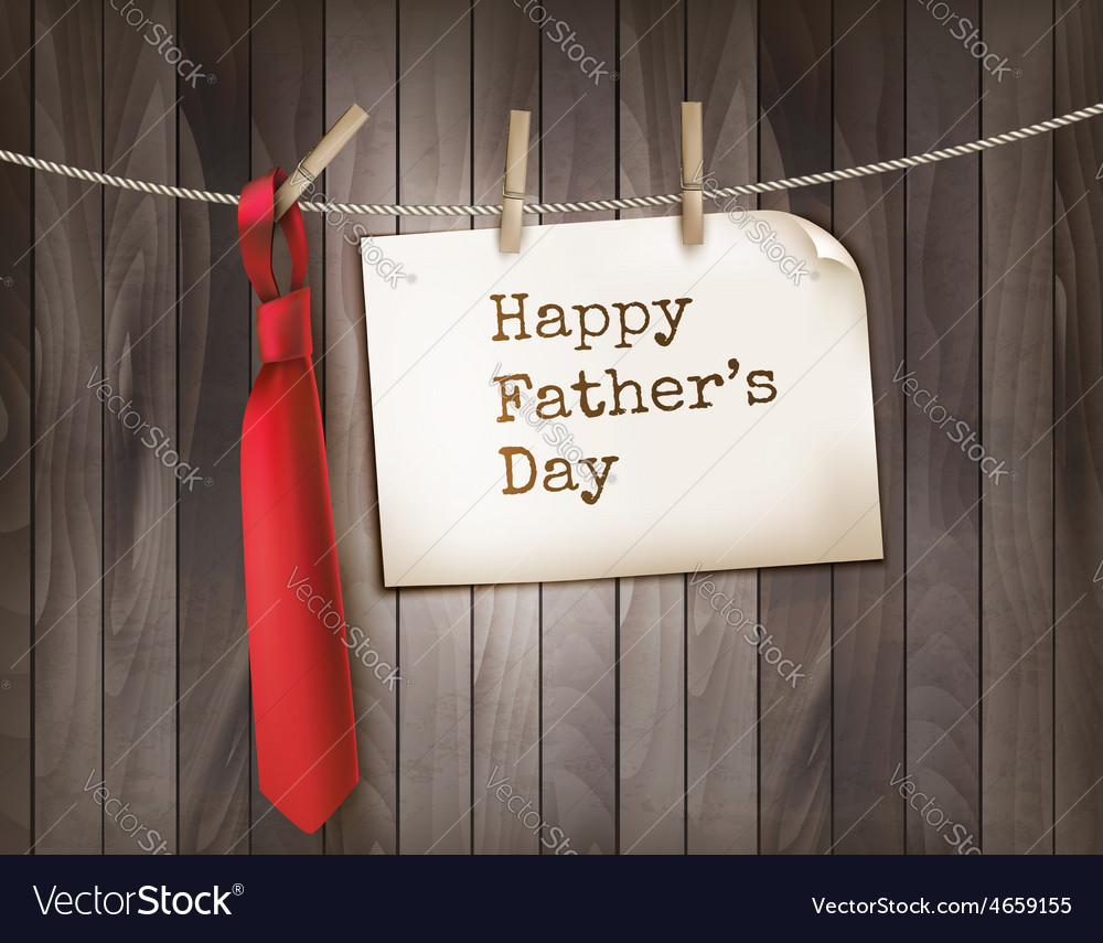 Happy Fathers Day background with a red tie on a