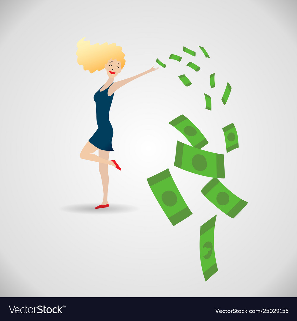 Happy young woman surrounded green money