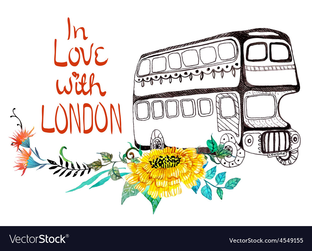 London bus with watercolor flowers