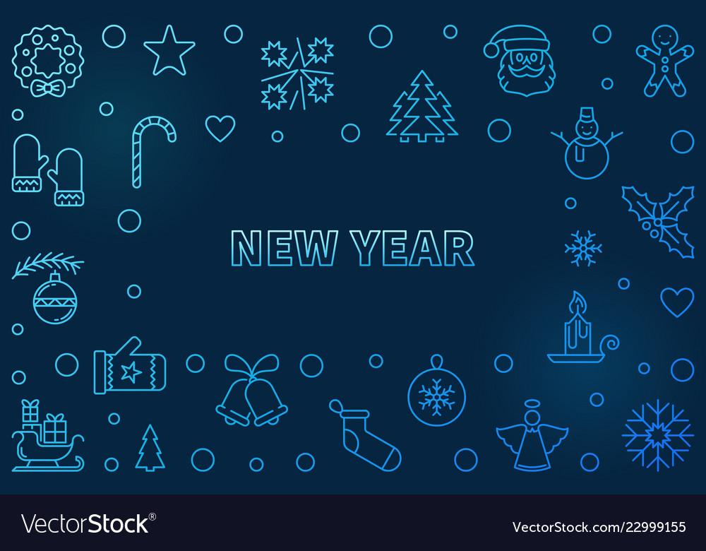 New year blue horizonta background in