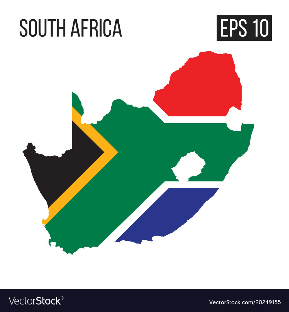 South africa map border with flag eps10 Royalty Free Vector