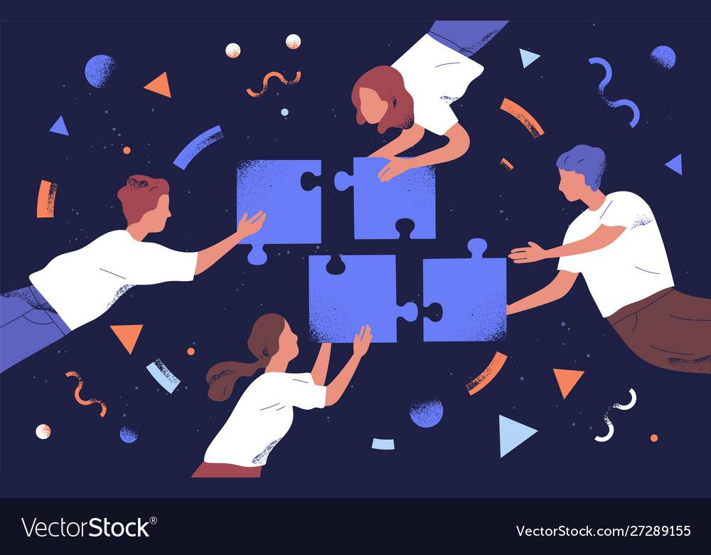 Teamwork and team building flat