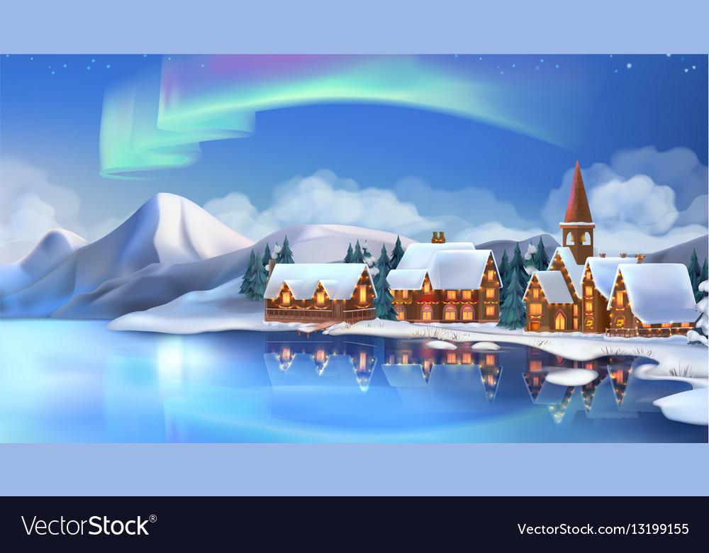 Winter landscape Christmas cottages Festive