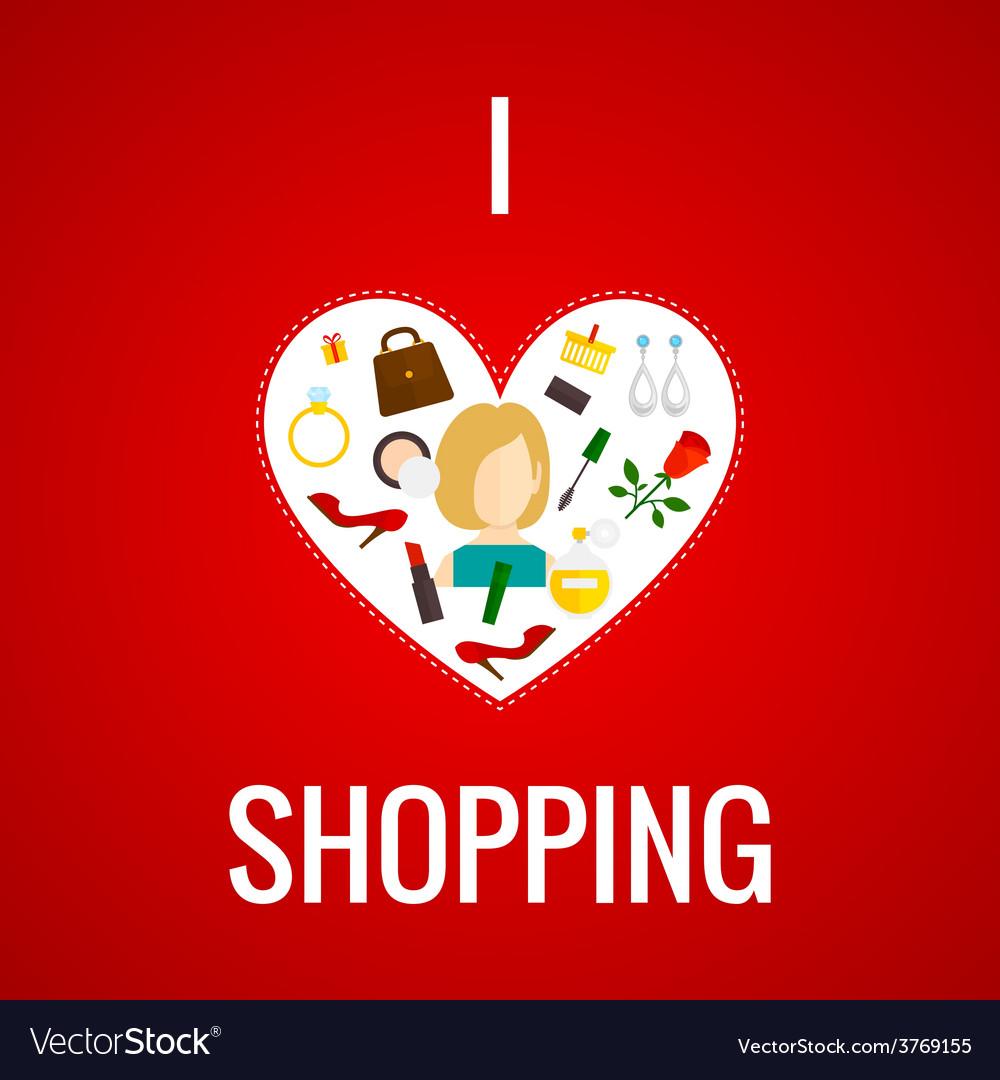 Woman shopping heart icon flat