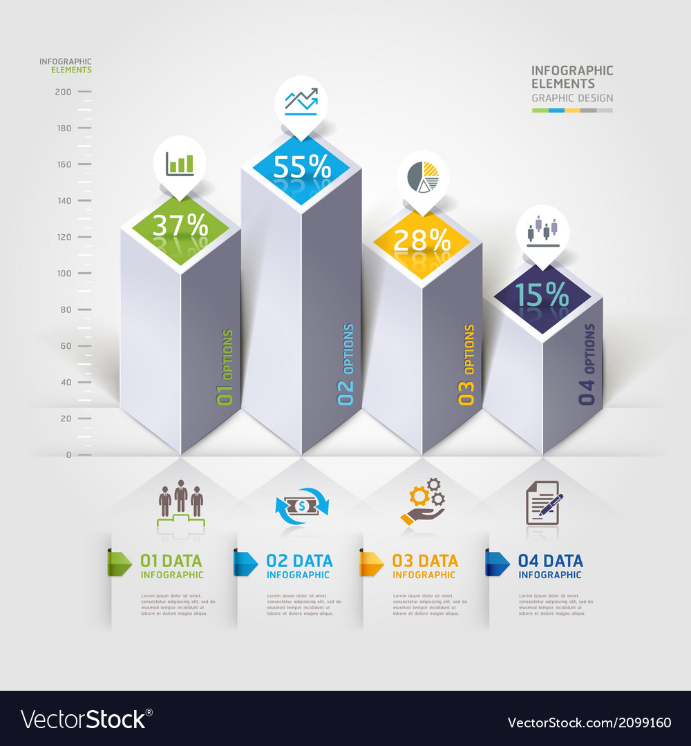 3d business infographics options template