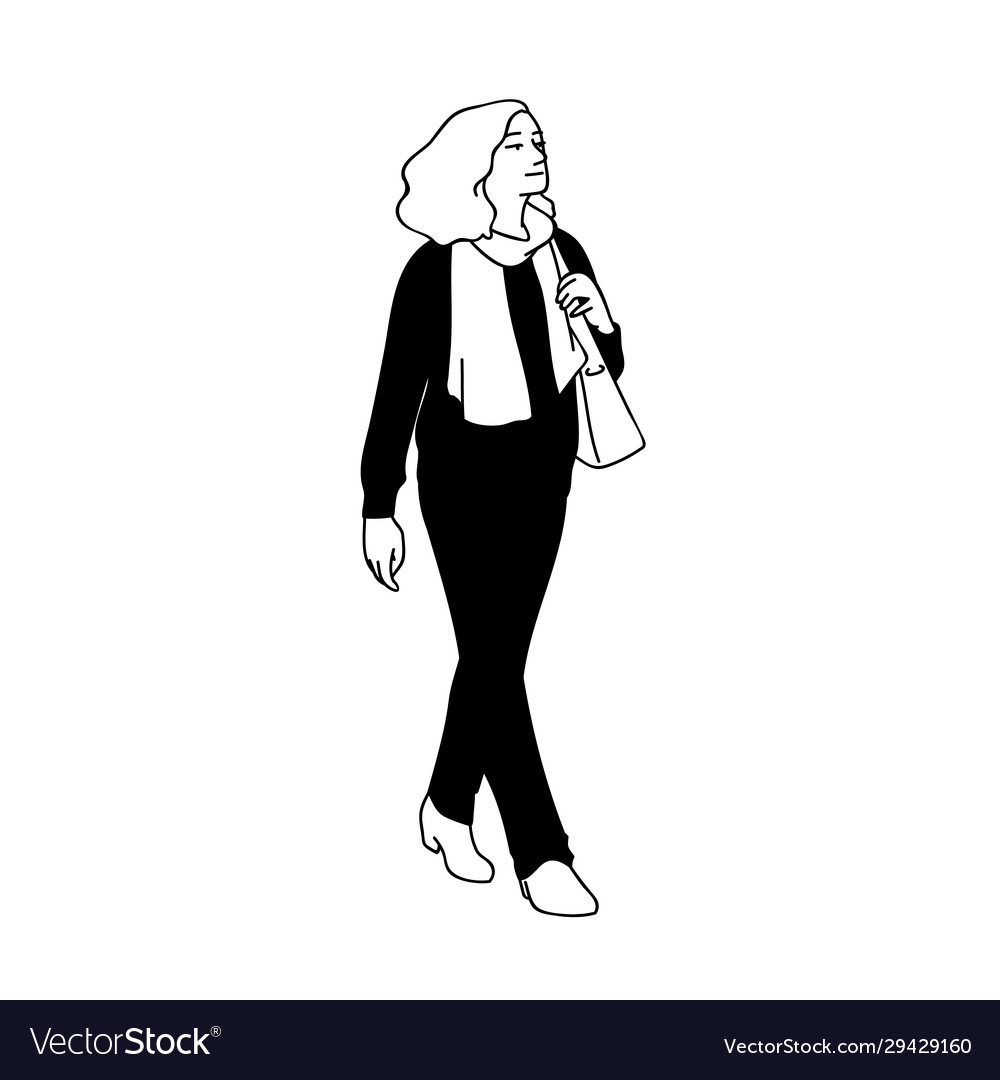 Adult woman with curky hair taking a walk looking