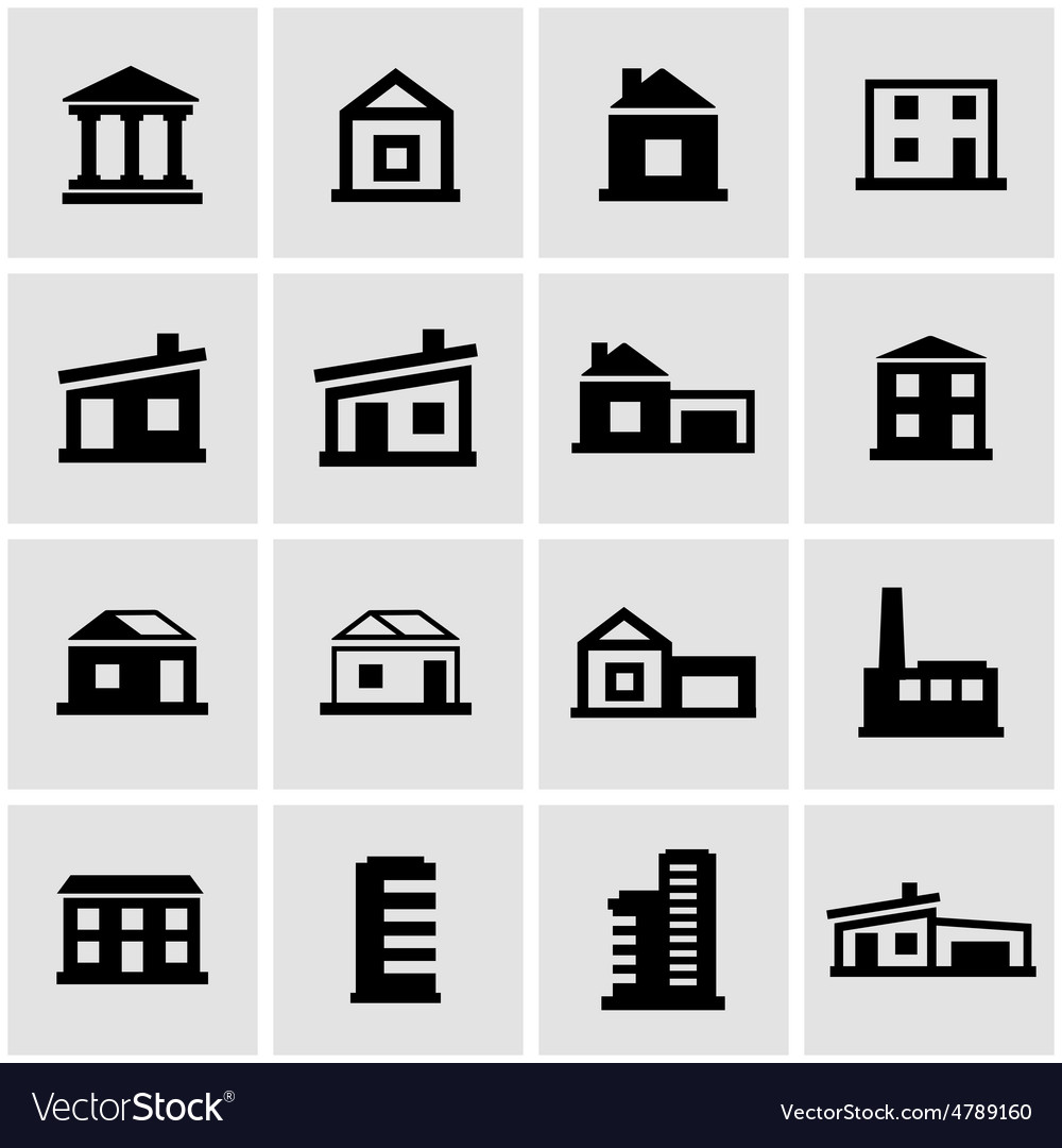 Black buildings icon set