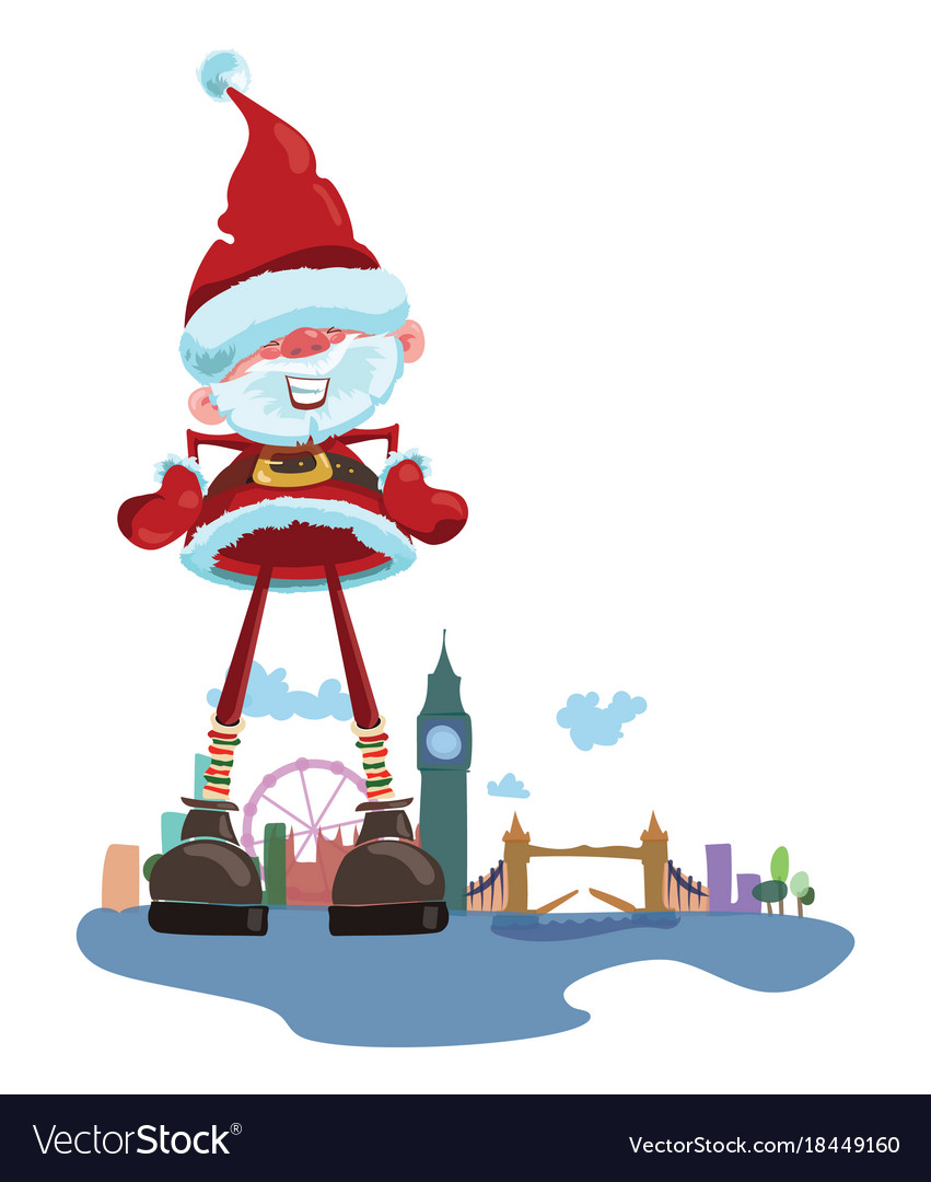 Cartoon santa claus on the background of london