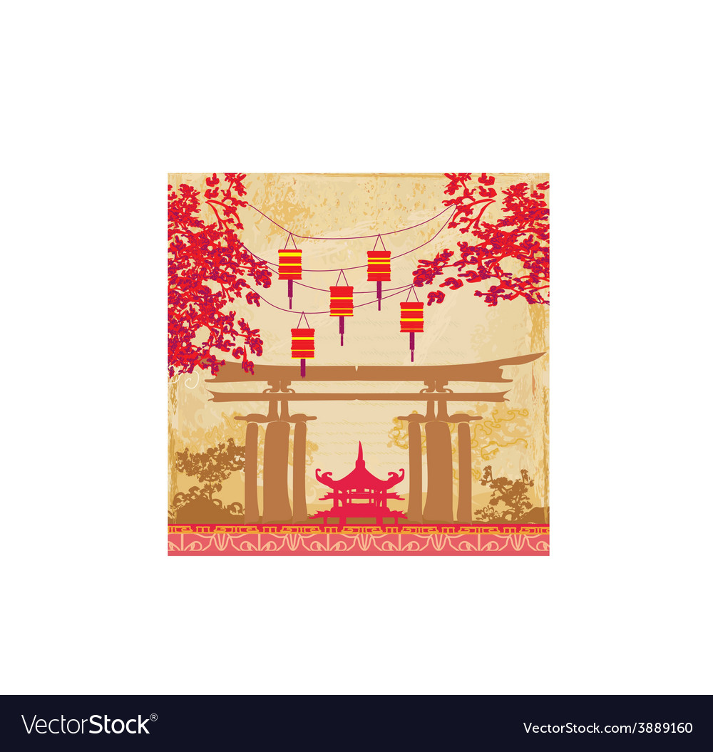 Chinese New Year Card Traditional Lanterns And Vector Image