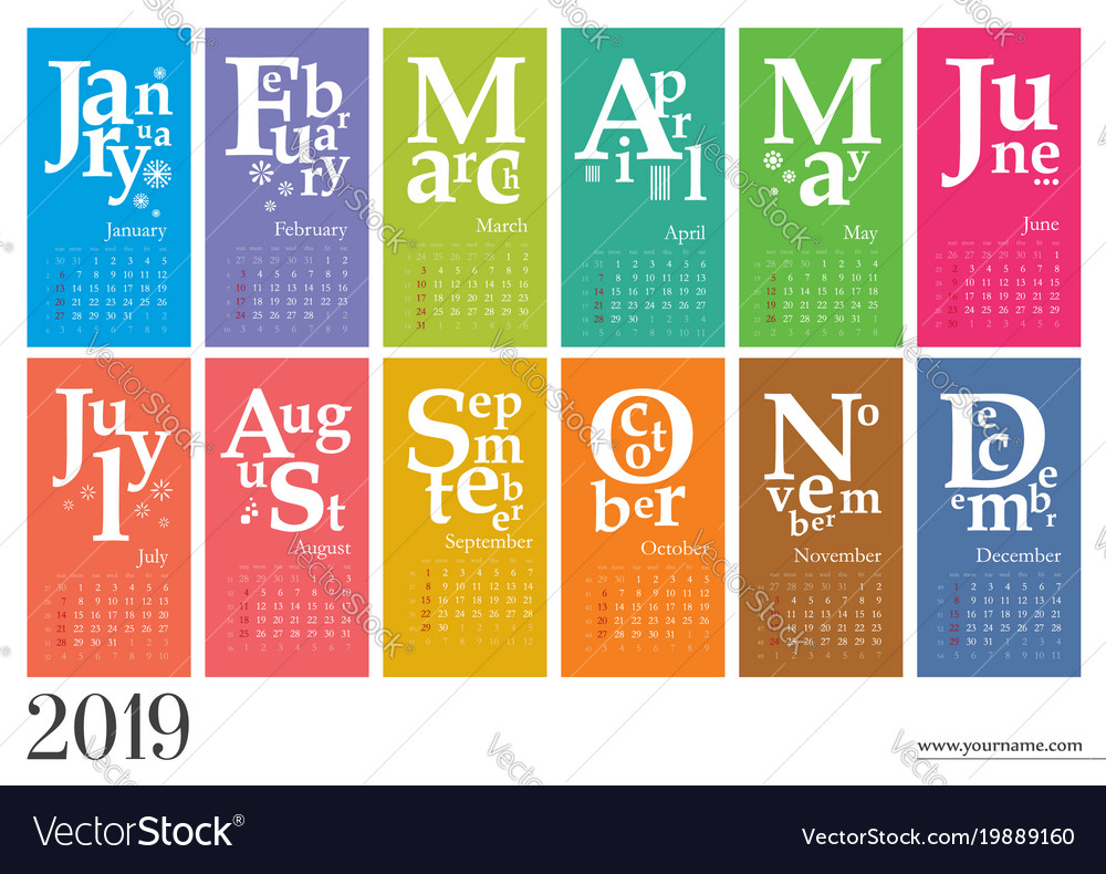 Creative calendar 2019 mondays selected