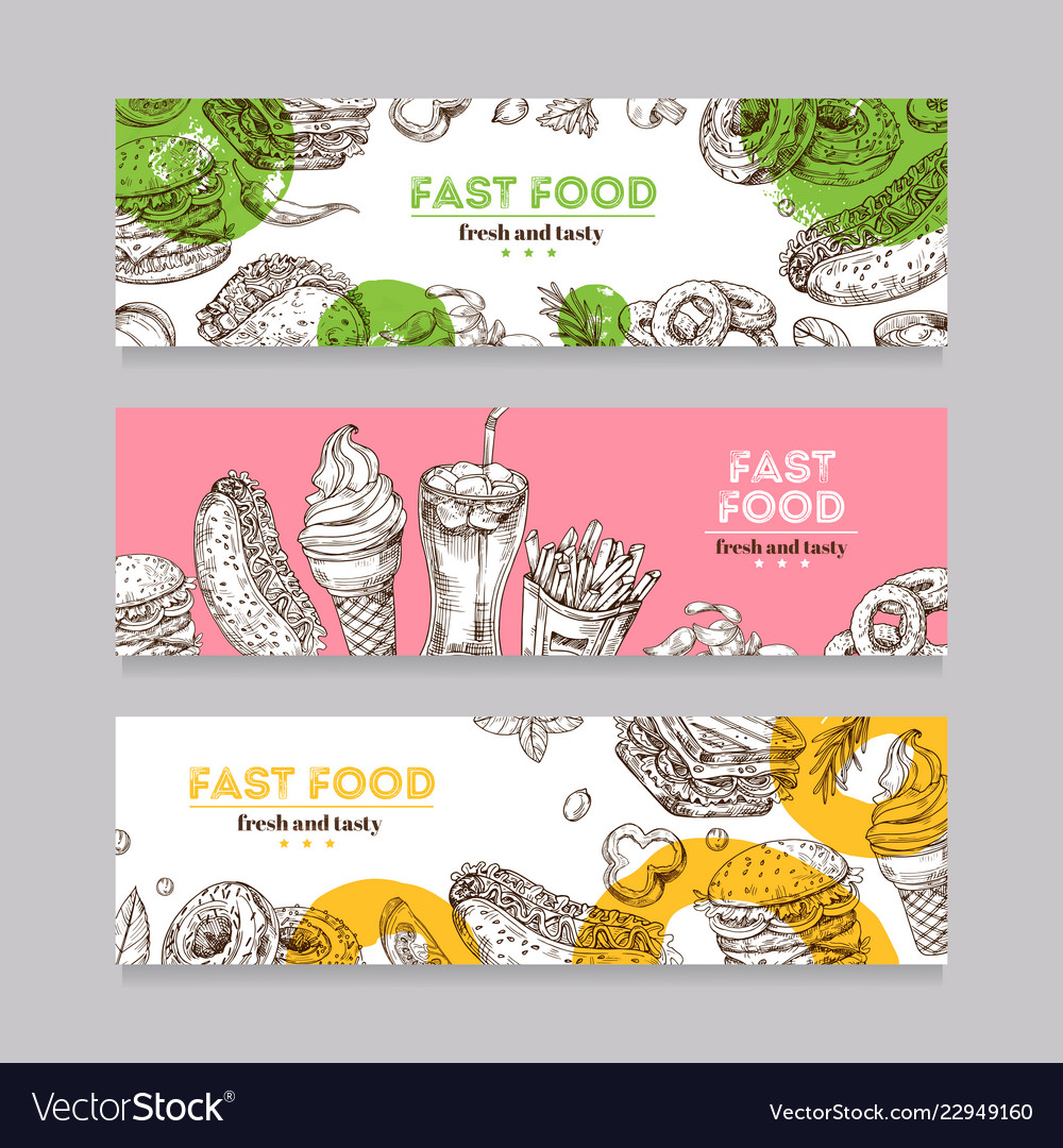 Fast food banners sketch burger pizza and snack