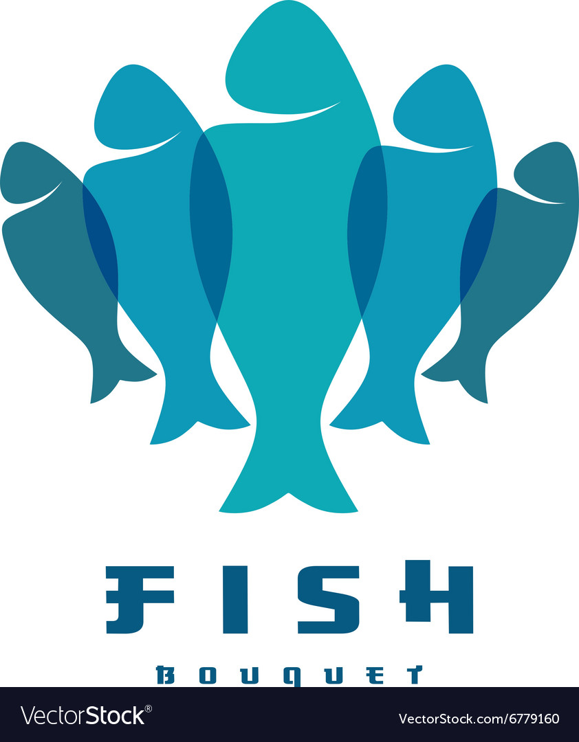 Fish logo Several vertical shapes with overlay