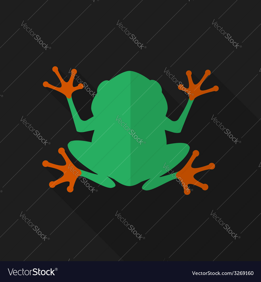 Flat frog with long shadow icon